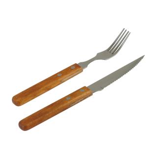 Steakbesteck Pizzabesteck mit Holzgriff für 4 bis 12 Personen Messer und Gabel