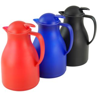 Isolierkanne 1 Liter aus Kunststoff doppelwandig in schwarz, rot, blau