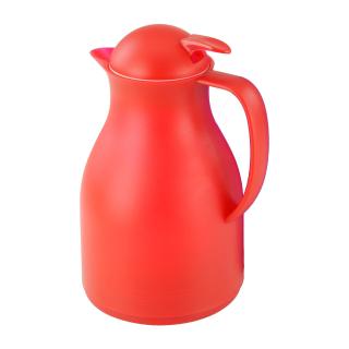 Isolierkanne Thermoskanne Kaffeekanne 1,0 ltr. für ca. 8 Tassen in rot, Kunststoff