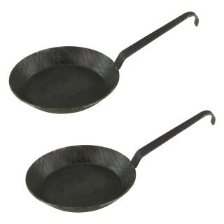 Schmiedeeiserne Brat- und Servierpfanne 2 Stück Ø 16 cm mit Hakenstiel