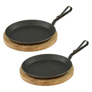 Servierpfanne aus Schmiedeeisen gebogener Hakenstiel Ø 28 cm 2 Stück inklusive Brett