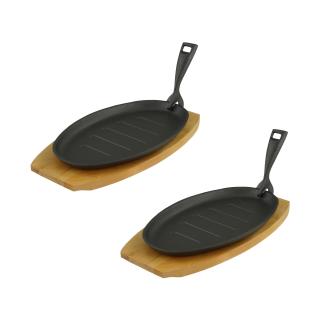 Servierpfanne mit Servierbrett oval 27,5 x17,5 x 2cm Gusseisen 2 Stück im Set
