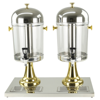 Saft-Dispenser Getränkedispenser Saftspender 2 x 8 Liter gold