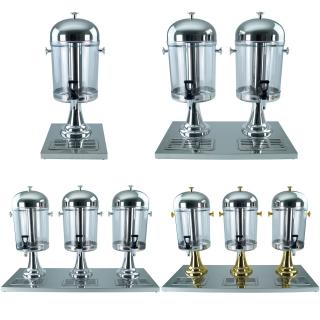 Saft-Dispenser Getränkedispenser Saftspender 1-3 x 8 Liter Standfuss gold- oder silberfarbig wählbar