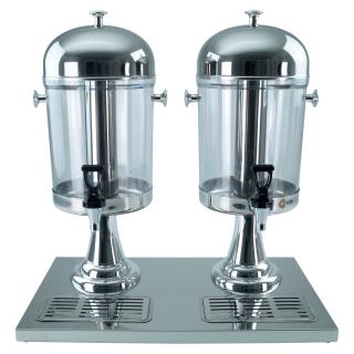 Saft-Dispenser Getränkedispenser Saftspender 2 x 8 Liter Standfuss silberfarbig