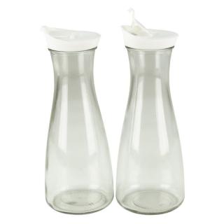 Glaskaraffe mit Deckel 1 Liter 2 Stück Weiß/Weiß