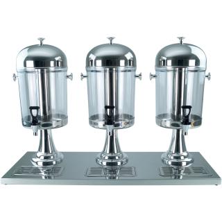 Saft-Dispenser Getränkedispenser Saftspender 3 x 8 Liter Standfuss silberfarbig