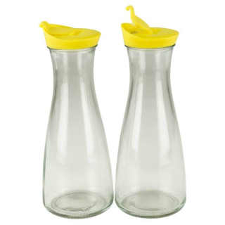 Glaskaraffe mit Deckel 1 Liter 2 Stück Gelb/Gelb