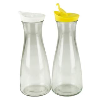 Glaskaraffe mit Deckel 1 Liter 2 Stück Weiß/Gelb