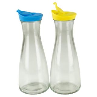 Glaskaraffe mit Deckel 1 Liter 2 Stück Blau/Gelb