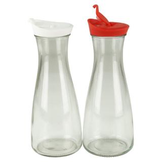 Glaskaraffe mit Deckel 1 Liter 2 Stück Weiß/Rot