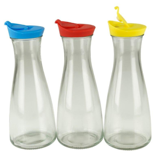 Glaskaraffe mit Deckel 1 Liter 3 Stück Blau/Rot/Gelb