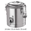 Doppelwandiger Thermogetränkebehälter 22 Liter...