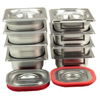 GN Behälter Gastronorm Behälter 1/6 65 mm - 200 mm Tiefe aus Edelstahl - ungelochte Behälter - oder Deckel