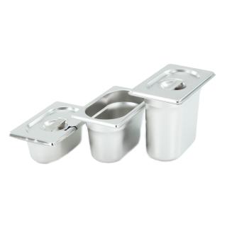 GN Behälter Gastronorm Behälter 1/9 65mm - 150mm Tiefe aus Edelstahl - ungelochte Behälter - oder Deckel