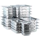 GN Behälter Gastronorm mit Fallgriffen 1/6 GN bis 2/3 65mm bis 200mm Edelstahl - ungelocht - Deckel mit Fallgriffaussparung